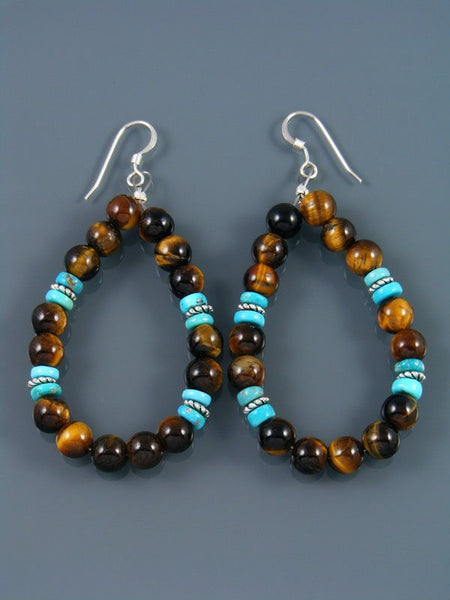 Navajo Tigers Eye Beaded Dangle Earrings
