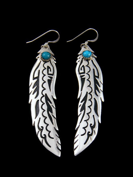 Navajo Overlay Turquoise Feather Dangle Earrings