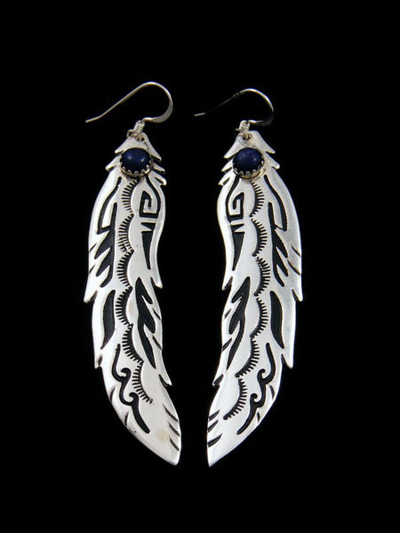 Navajo Overlay Lapis Feather Dangle Earrings