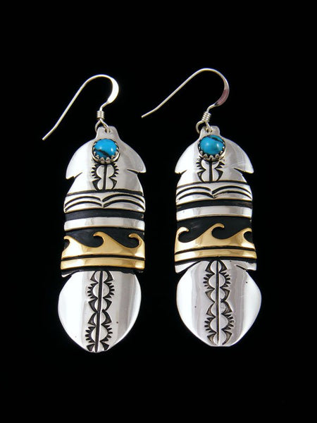 Navajo Sterling Silver and Gold Overlay Turquoise Dangle Feather Earrings