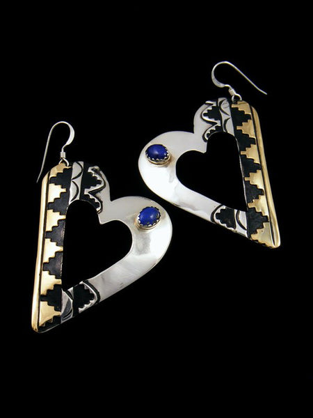 Navajo Overlay Sterling Silver and Gold Heart Dangle Earrings
