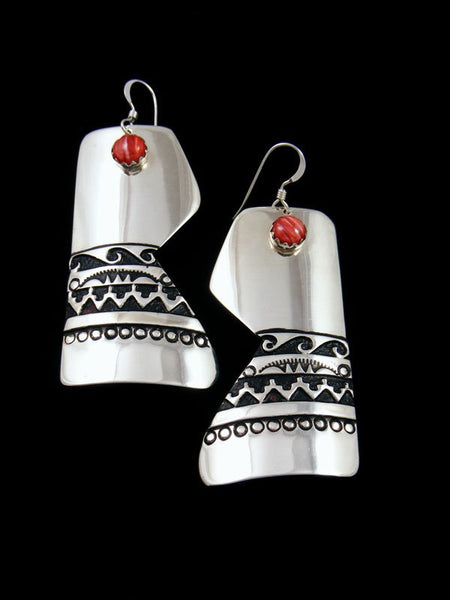Navajo Sterling Silver Overlay Spiny Oyster Dangle Earrings