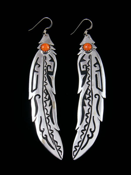 Navajo Overlay Sterling Silver and Spiny Oyster Feather Dangle Earrings