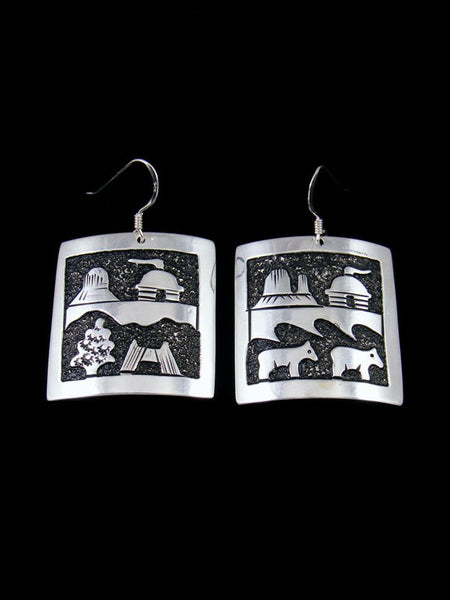 Navajo Sterling Silver Storyteller Overlay Dangle Earrings