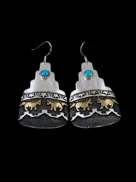 Navajo Sterling Silver and Gold Overlay Horse Earrings
