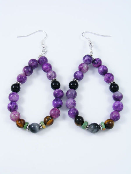 Navajo Purple Jasper Beaded Dangle Earrings