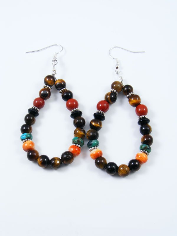 Navajo Tiger Eye Beaded Dangle Earrings By Tommy And Rosita Singer At Pueblodirect Com