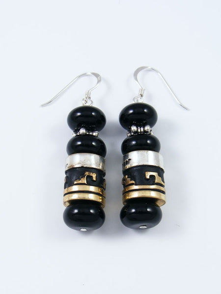 Navajo Black Onyx Dangle Overlay Bead Earrings