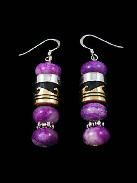 Navajo Purple Jasper Dangle Overlay Bead Earrings