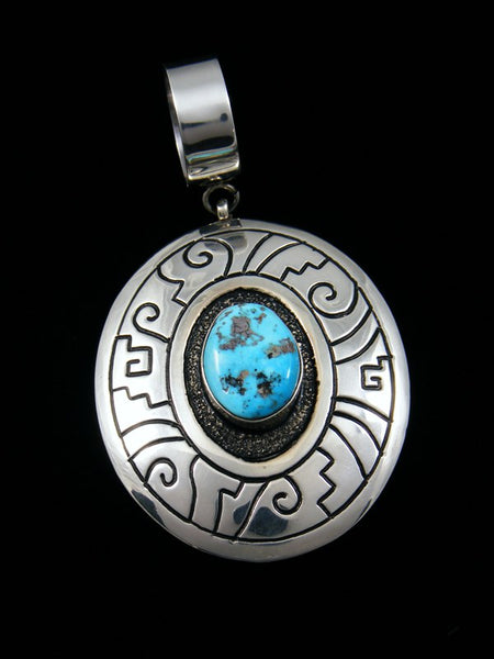 Navajo Sterling Silver Overlay Turquoise Pendant