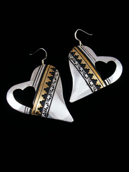 Sterling Silver and Gold Overlay Heart Dangle Earrings