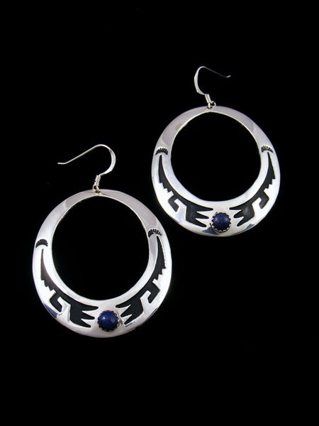 Navajo Sterling Silver Overlay Lapis Dangle Earrings