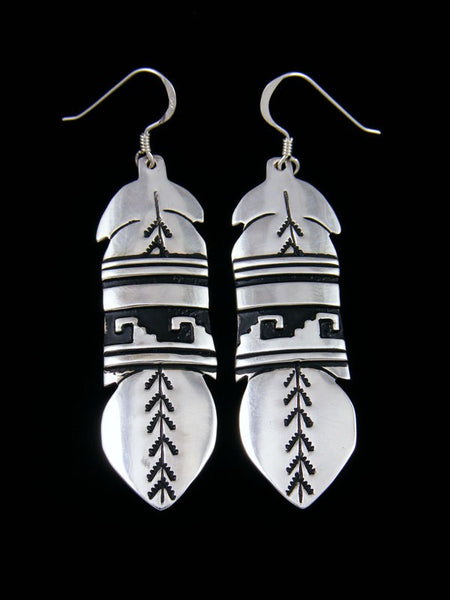 Navajo Sterling Silver Overlay Feather Dangle Earrings