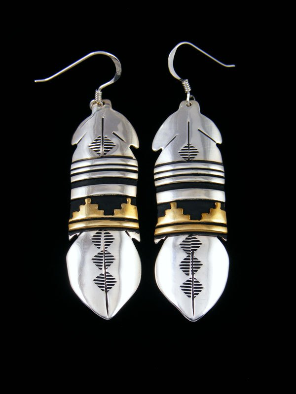 Navajo Sterling Silver and Gold Overlay Feather Earrings
