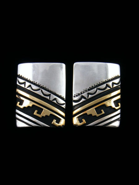 Navajo Sterling Silver and Gold Overlay Post Earrings