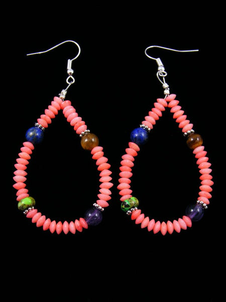 Pink Coral Beaded Dangle Earrings