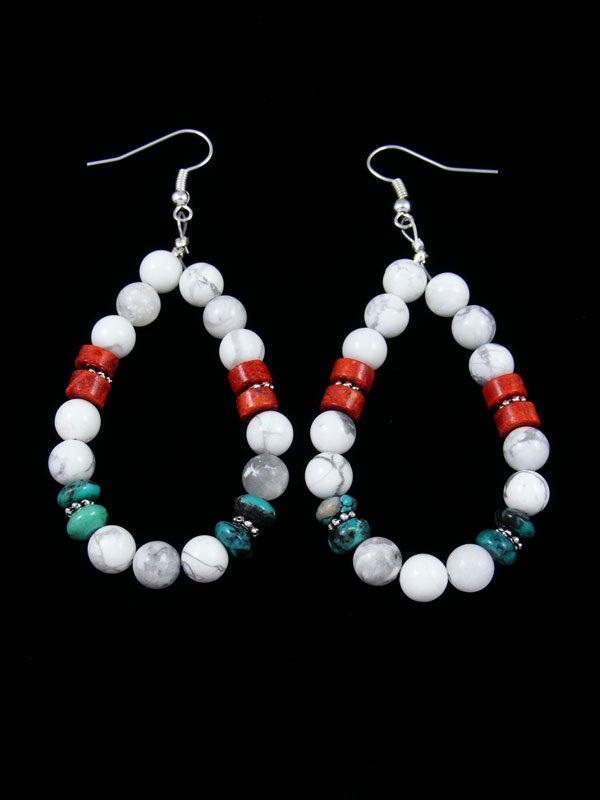 White Marble and Turquoise Beaded Dangle Earrings