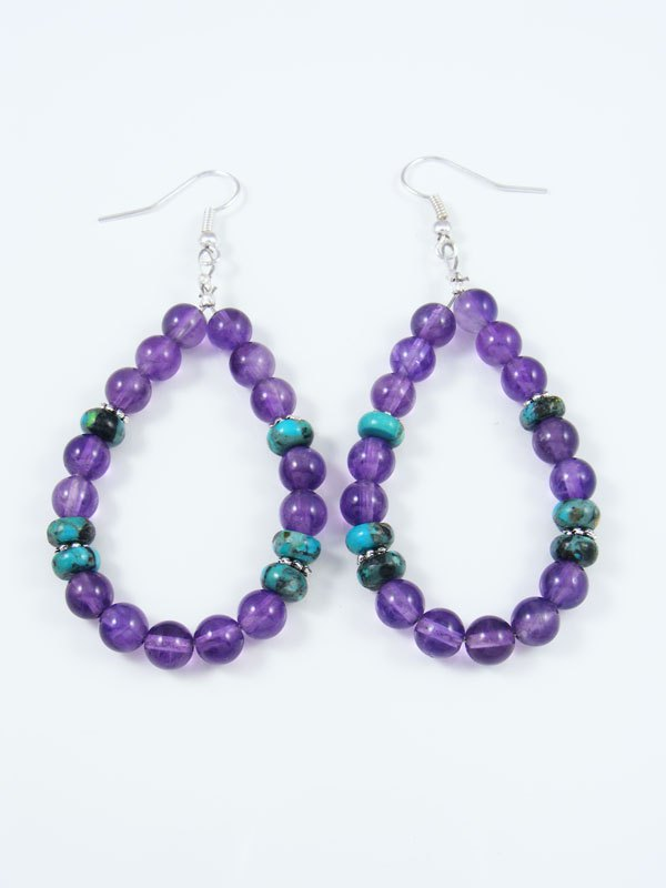 Amethyst and Turquoise Beaded Dangle Earrings