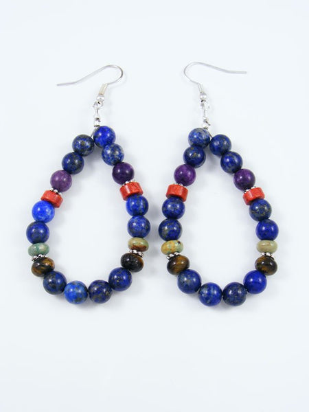 Lapis and Apple Coral Beaded Dangle Earrings