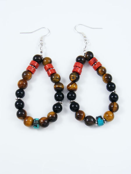 Tiger Eye and Onyx Beaded Dangle Earrings