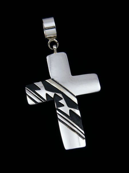 Native American Sterling Silver Overlay Cross Pendant