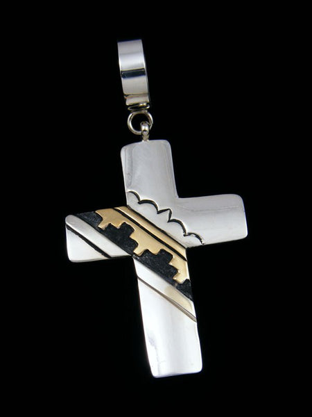 Native American Silver and Gold Overlay Cross Pendant