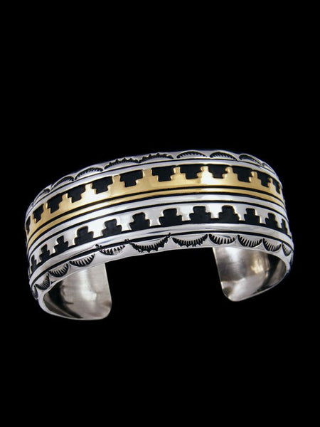 Native American Sterling Silver and Gold Overlay Bracelet