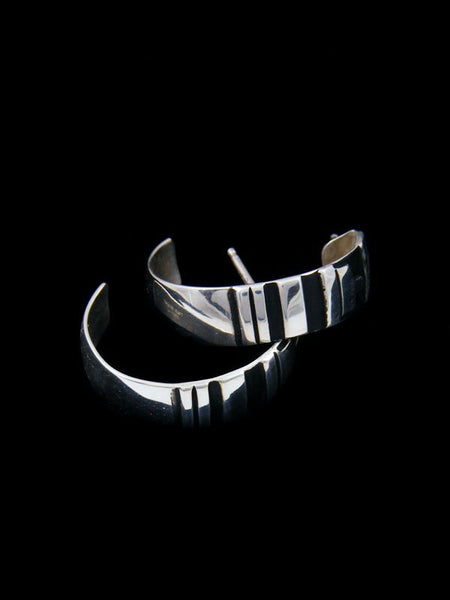 Navajo Overlay Sterling Silver Hoop Post Earrings