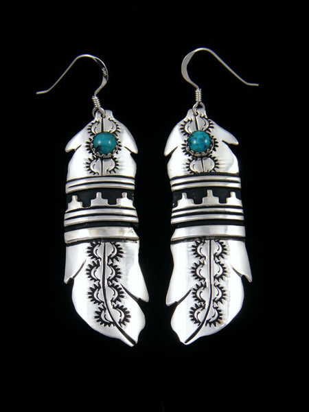Navajo Sterling Silver Overlay Turquoise Feather Earrings
