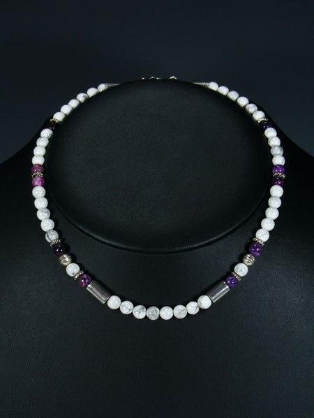 "16"" White Marble Single Strand Beaded Necklace"