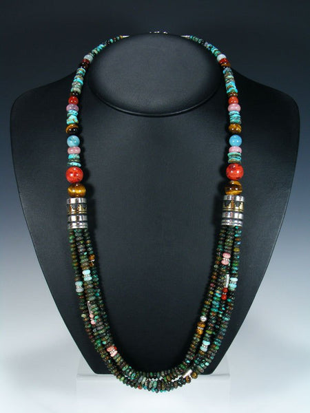 "Apple Coral and Turquoise Multi Strand 30"" Beaded Necklace"