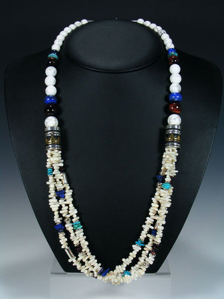 "White Coral and Turquoise Multi Strand 30"" Beaded Necklace"