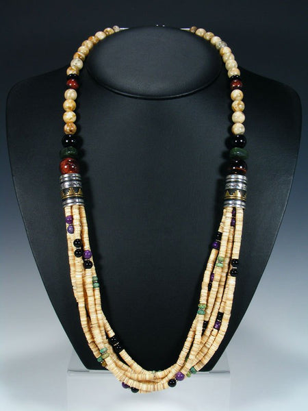 "Shell Heishi and Onyx Multi Strand 30"" Beaded Necklace"