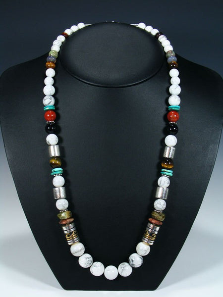 "White Marble and Tiger Eye 28"" Single Strand Beaded Necklace"