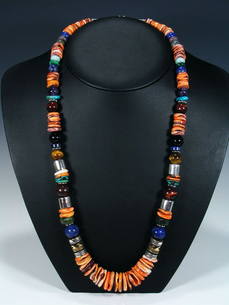"Spiny Oyster and Tiger Eye 28"" Single Strand Beaded Necklace"