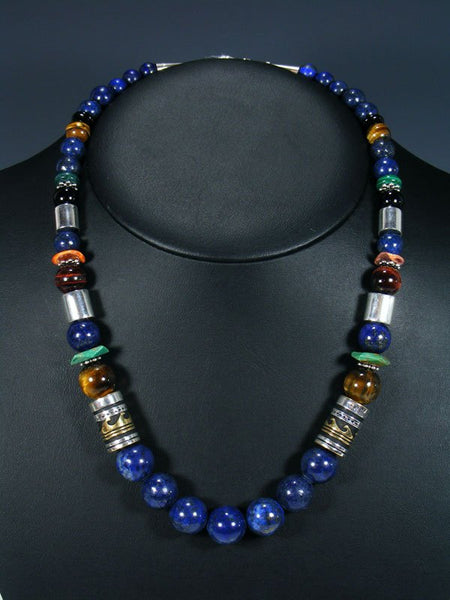 "21"" Lapis and Turquoise Large Single Strand Beaded Necklace"
