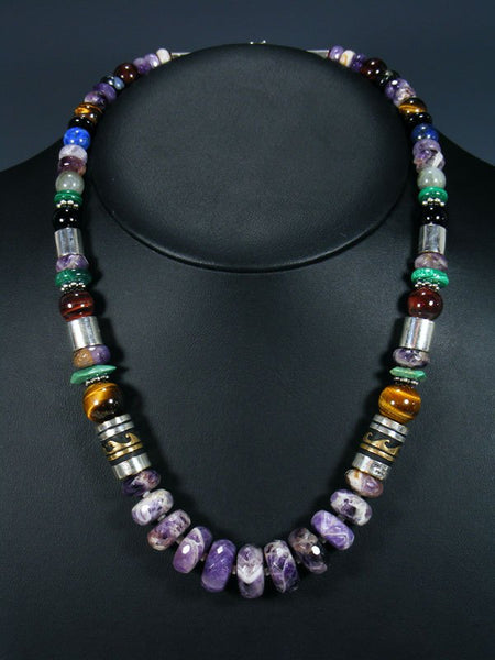 "21"" Amethyst Large Single Strand Beaded Necklace"