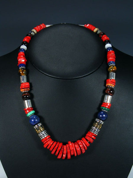 "21"" Coral and Lapis Large Single Strand Beaded Necklace"