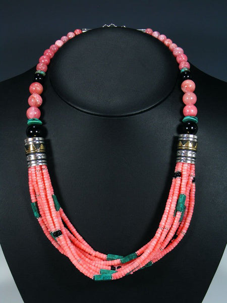 "24"" Navajo Pink Coral and Turquoise Multi Strand Beaded Necklace"