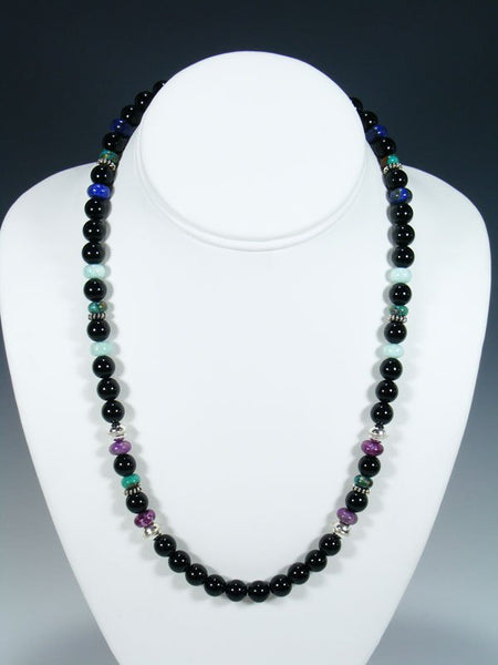 "20"" Single Strand Beaded Black Onyx and Turquoise Necklace"