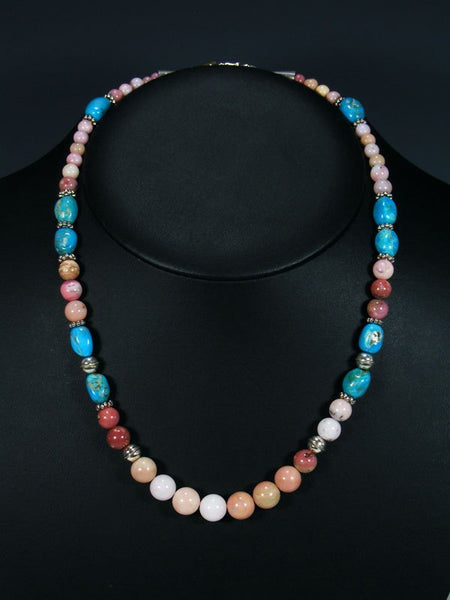 "20"" Single Strand Beaded Pink Moonstone Necklace"