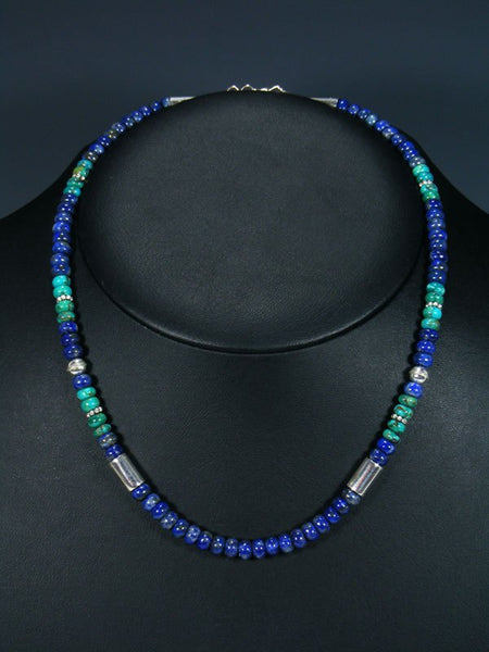 "18"" Lapis and Turquoise Single Strand Choker Bead Necklace"