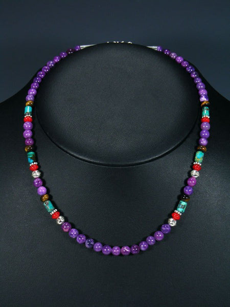 "18"" Dyed Jasper and Turquoise Single Strand Choker Bead Necklace"