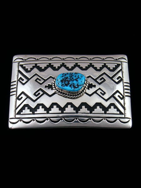 Native American Hand Crafted Sterling Silver Overlay and Turquoise Buckle