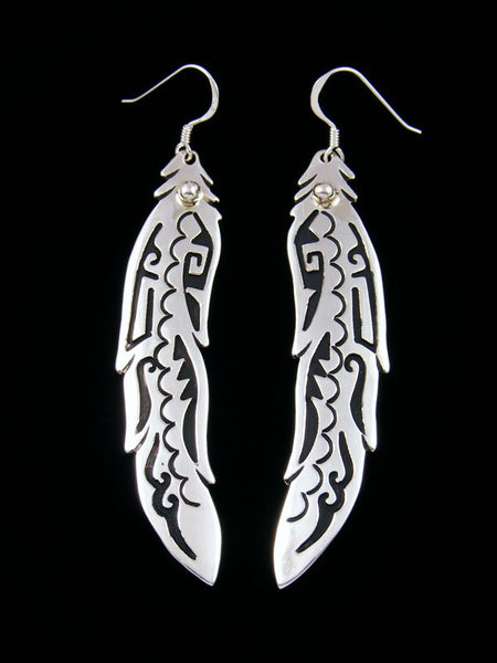 Navajo Sterling Silver Feather Overlay Earrings