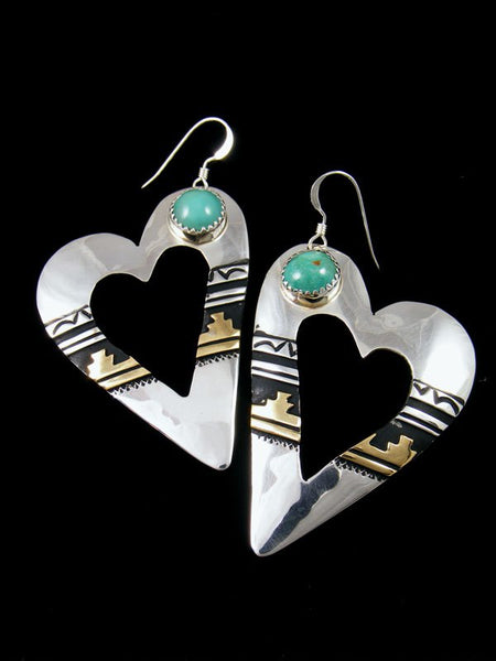 Navajo Sterling Silver and Gold Overlay Turquoise Dangle Heart Earrings