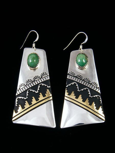Navajo Sterling Silver and Gold Overlay Turquoise Dangle Earrings