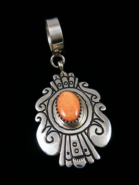 Native American Spiny Oyster Sterling Silver Overlay Pendant