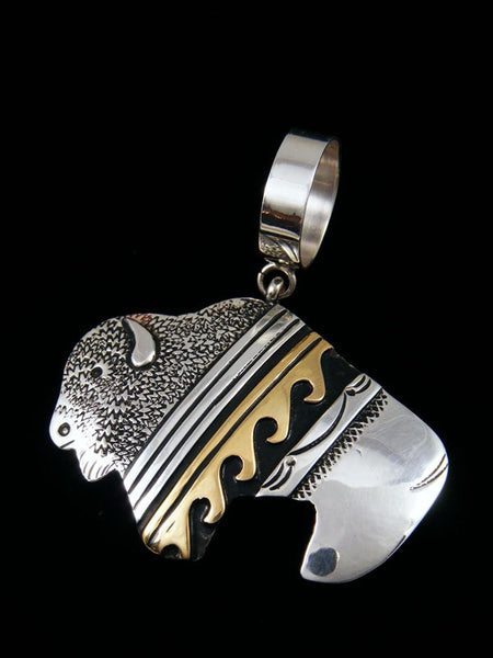 Native American Gold and Silver Overlay Bison Pendant