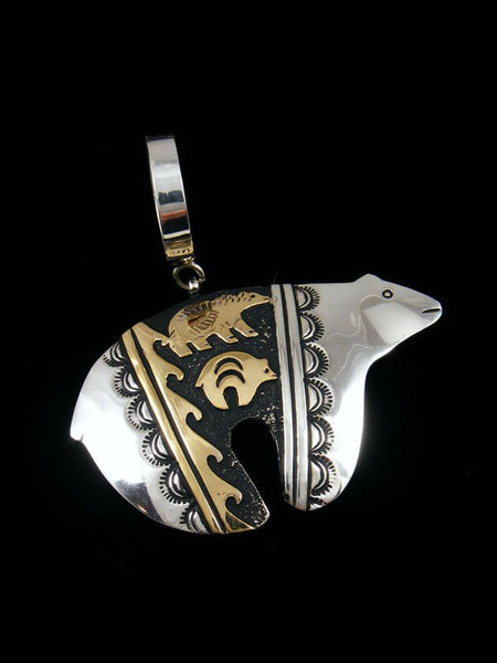 Native American Gold and Silver Overlay Bear Pendant